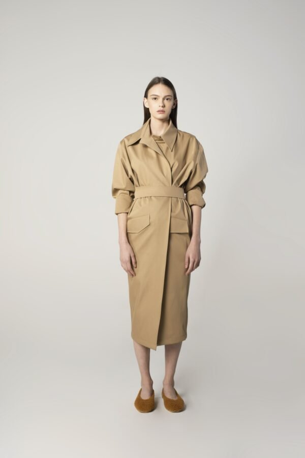 Belted Trench Coat in Camel