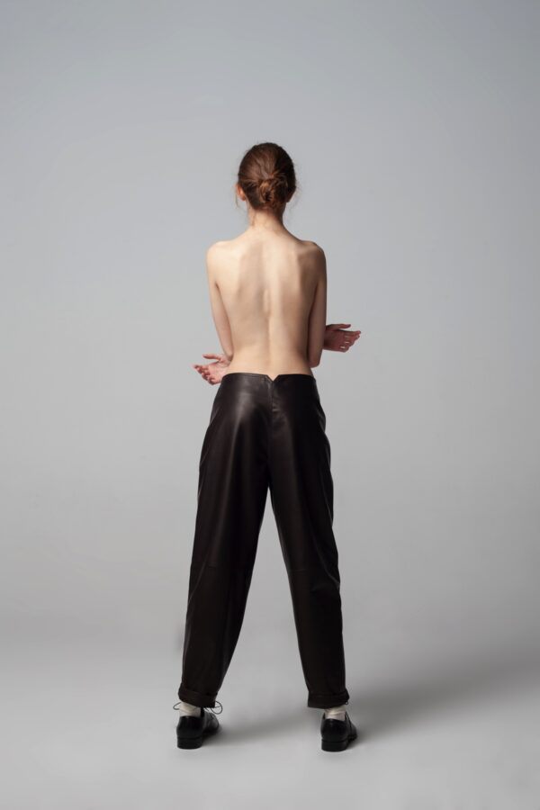 marija tarlac brown leather pants 1
