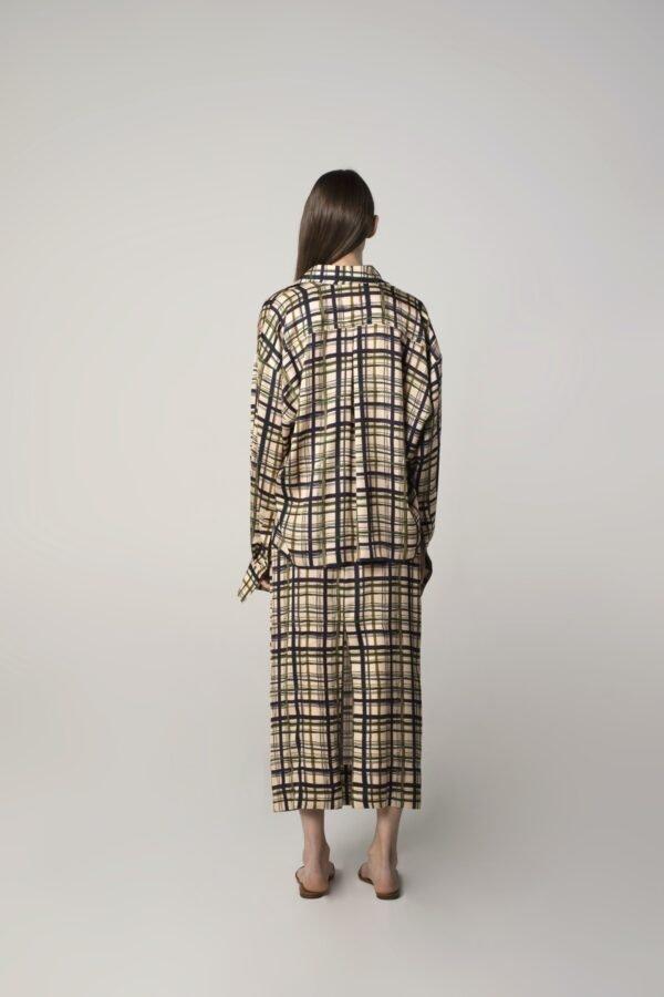 marija tarlac flat midi skirt in check print 1