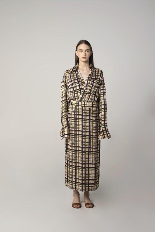 Flat Midi Skirt in Check Print