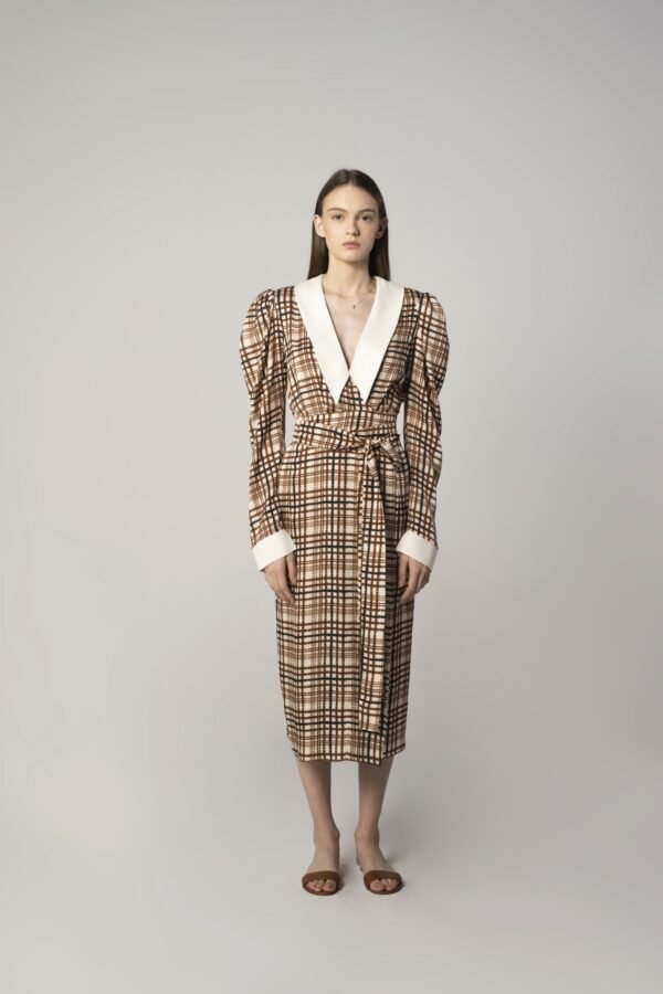 Fold-over Dress in Check Print