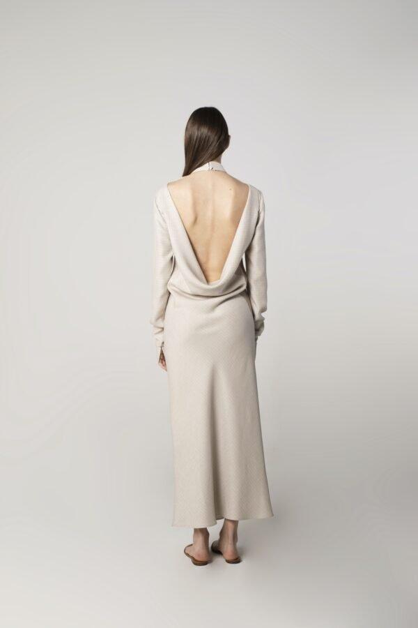 marija tarlac high neck open back dress in ice grey 1