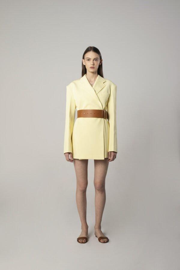 Jacket Dress in Lemon Yellow