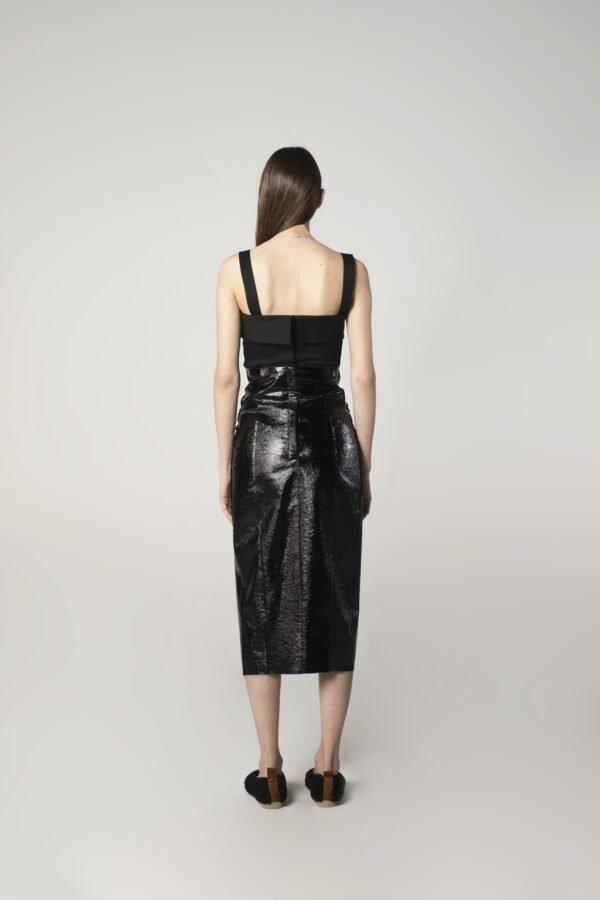 marija tarlac leather slit skirt in black 1