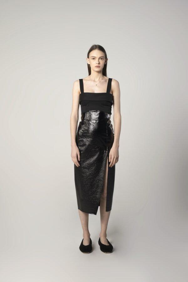Leather Slit Skirt in Black