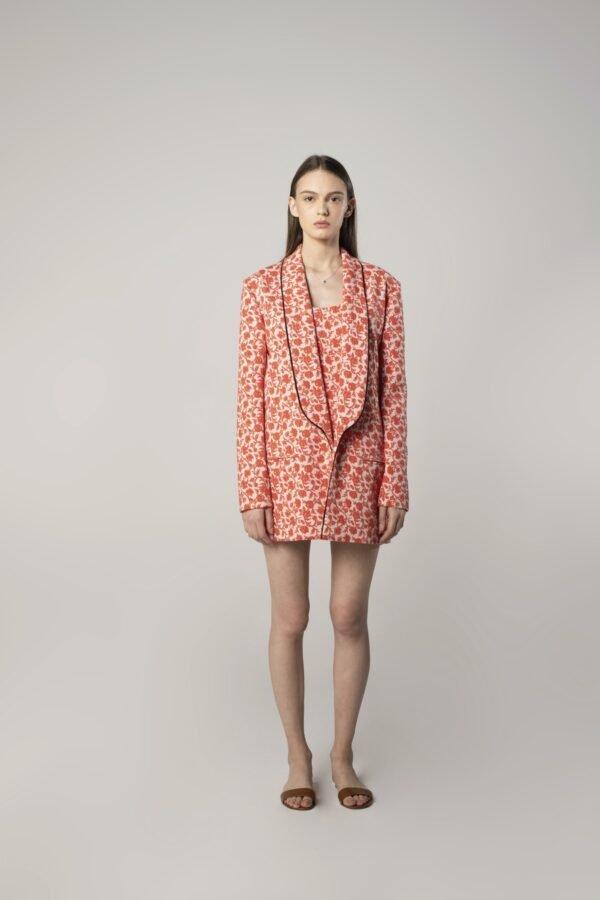 Long Scarf Collar Floral Print Jacket