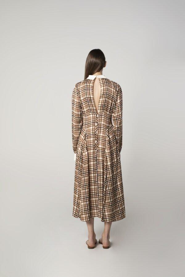 marija tarlac long sleeve dress in check print 1