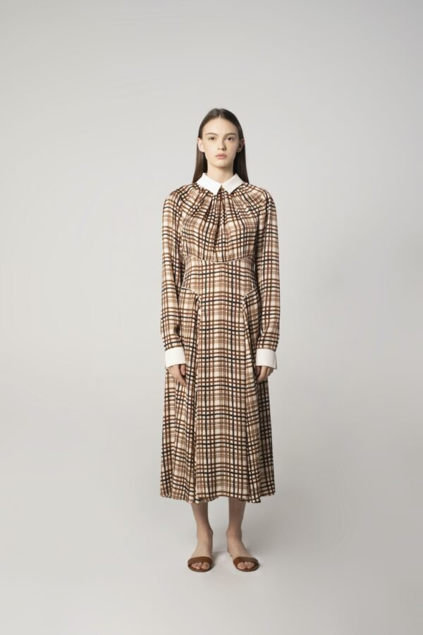 Long-sleeve Dress in Check Print