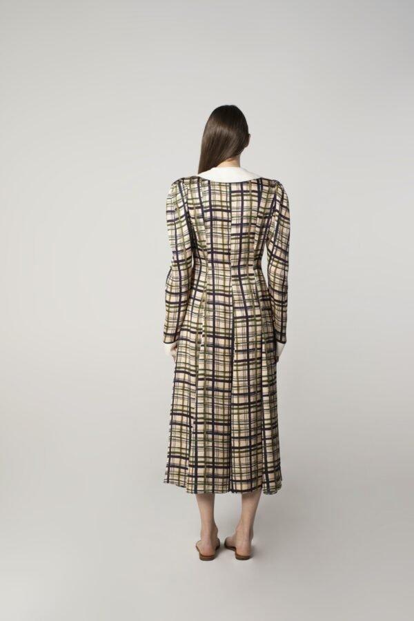 marija tarlac long sleeve midi dress in check print 1
