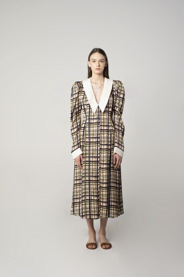 Long-sleeve Midi Dress in Check Print