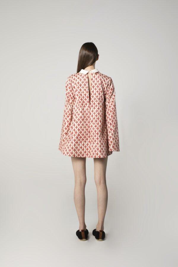 marija tarlac long sleeve mini dress in red and beige print 1