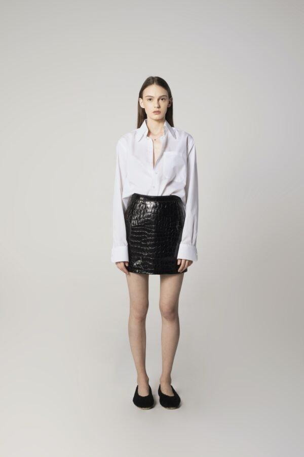Mini Leather Skirt in Black