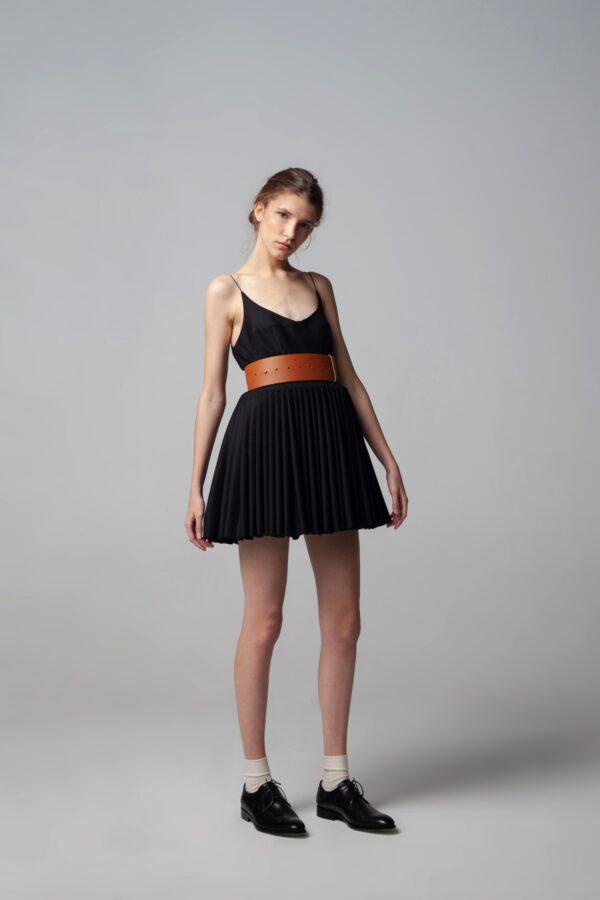 marija tarlac mini pleated black dress 1