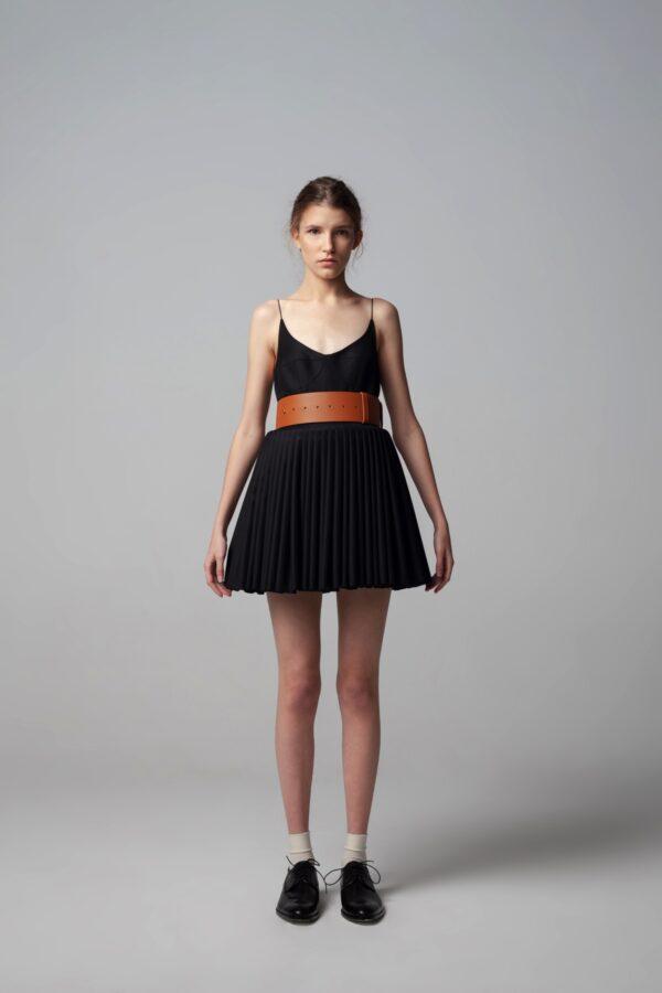 Mini Pleated Black Dress