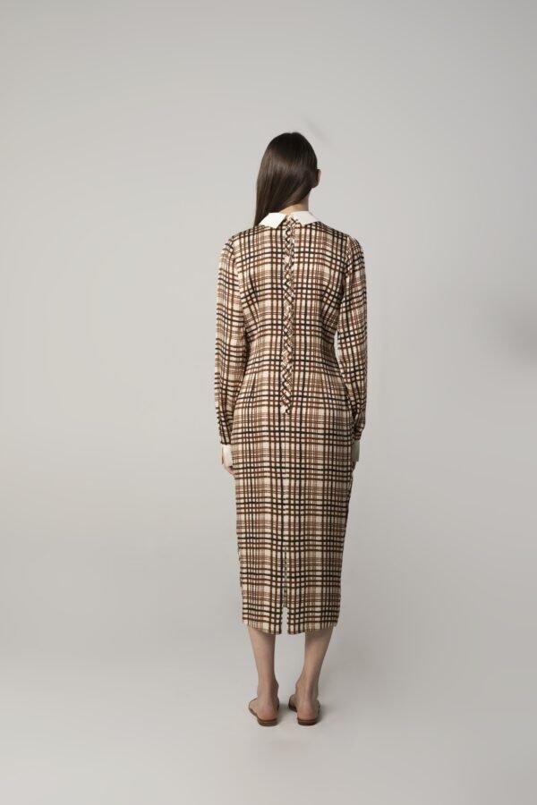 marija tarlac pleated dress in check print 1