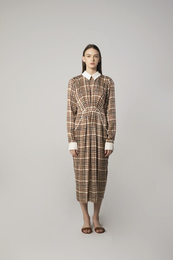Pleated Dress in Check Print