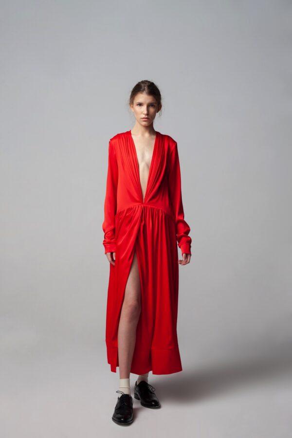 marija tarlac red deep v neck dress 1