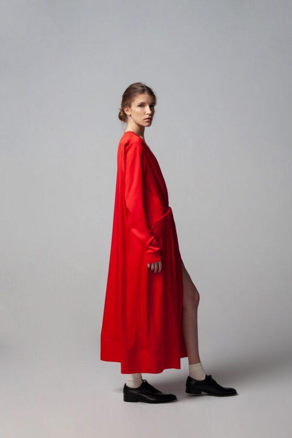 marija tarlac red deep v neck dress 2