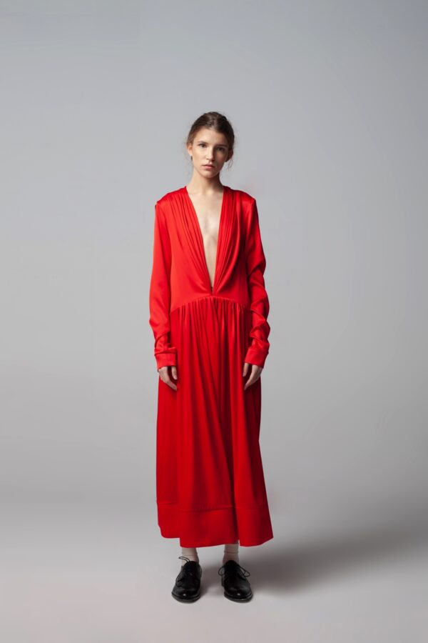 Red Deep V-neck Dress