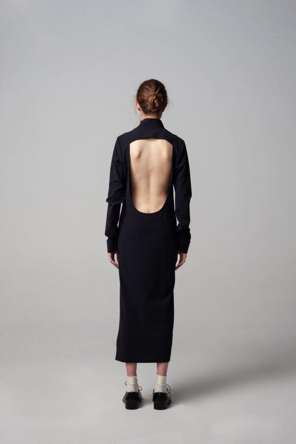marija tarlac roll neck deep open back dress 1