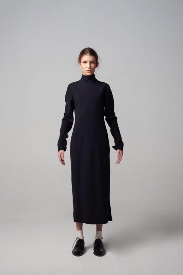 Roll-neck Deep Open Back Dress