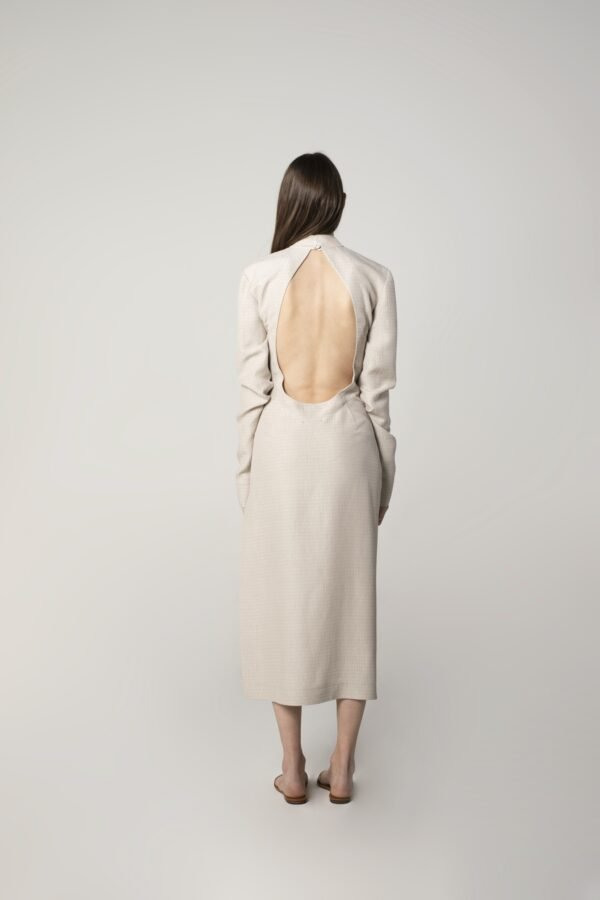 marija tarlac round open back dress in ice grey 1