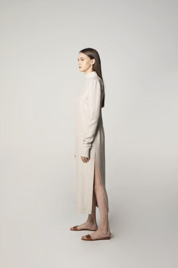marija tarlac round open back dress in ice grey 2