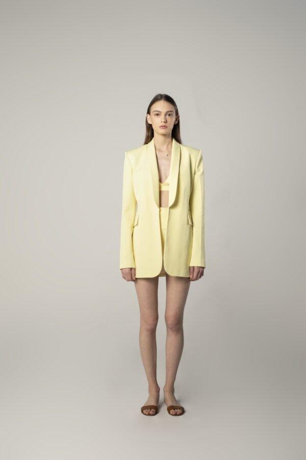 Scarf Collar Jacket in Lemon Yellow