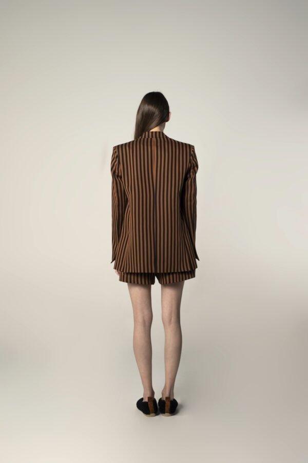 marija tarlac single breasted tux jacket in black and brown stripes print 1