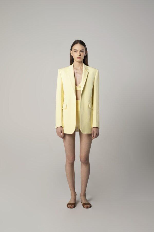 Single-breasted Tux Jacket in Lemon Yellow