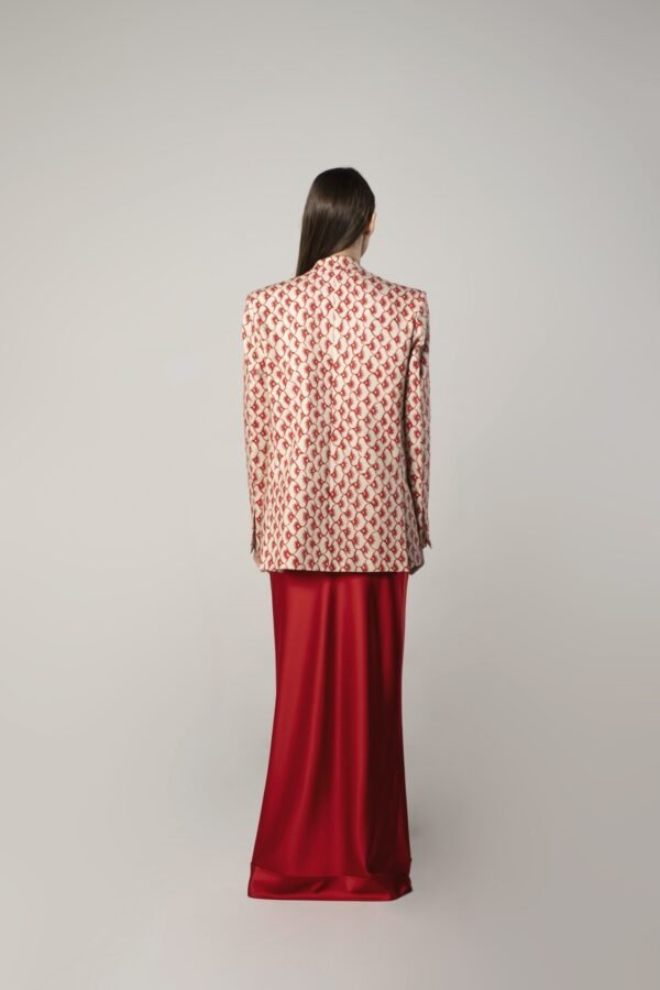 marija tarlac single breasted tux jacket in red and beige print 1