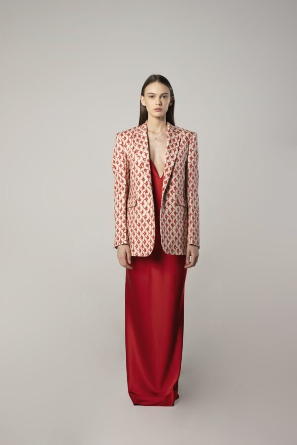 Single-breasted Tux Jacket in Red and Beige Print
