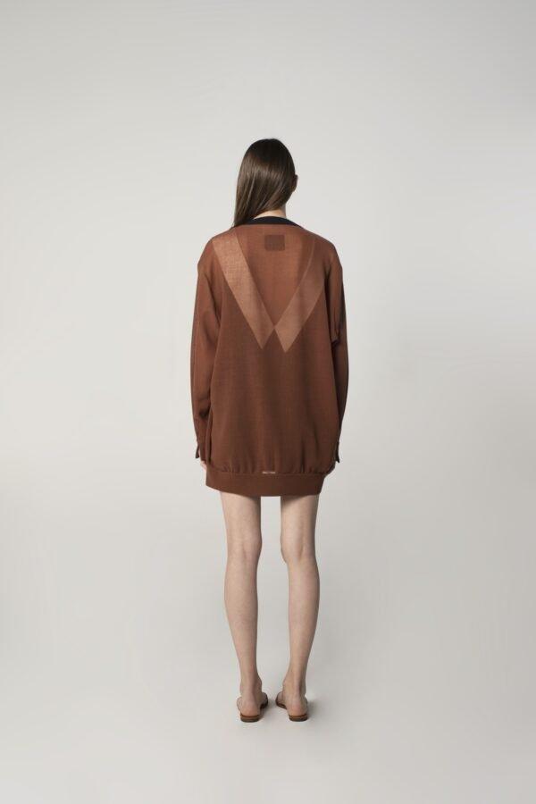marija tarlac soft wool cardigan in brown and navy blue 1
