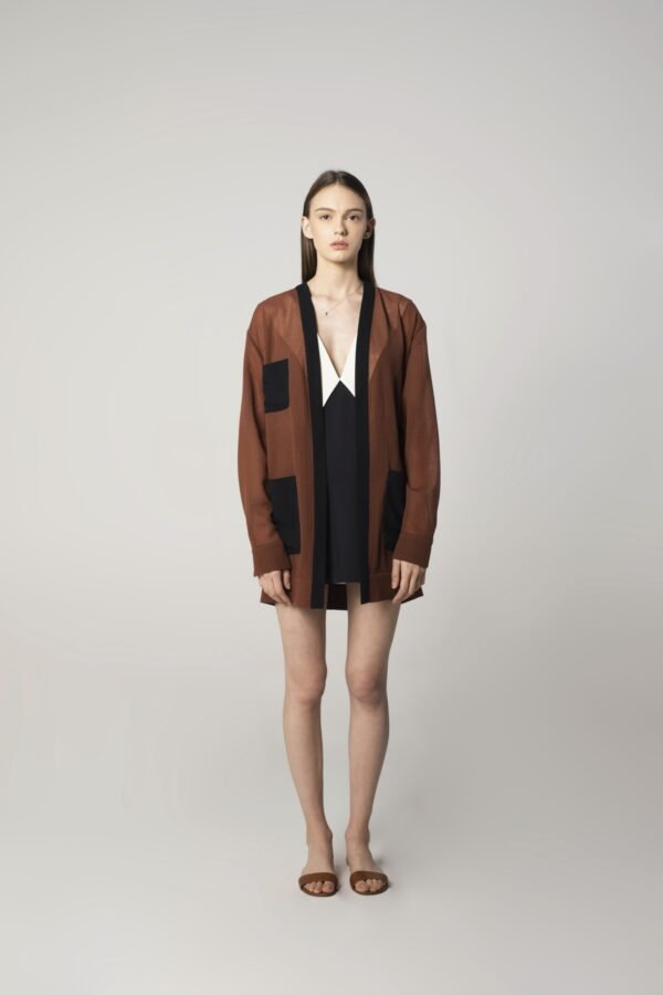 Soft Wool Cardigan in Brown and Navy Blue