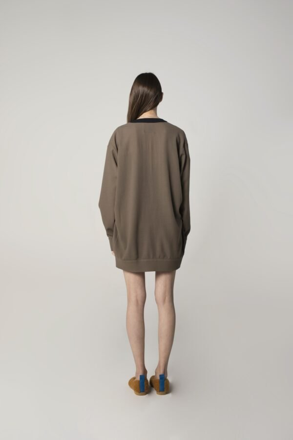 marija tarlac soft wool cardigan in grey and navy blue 1