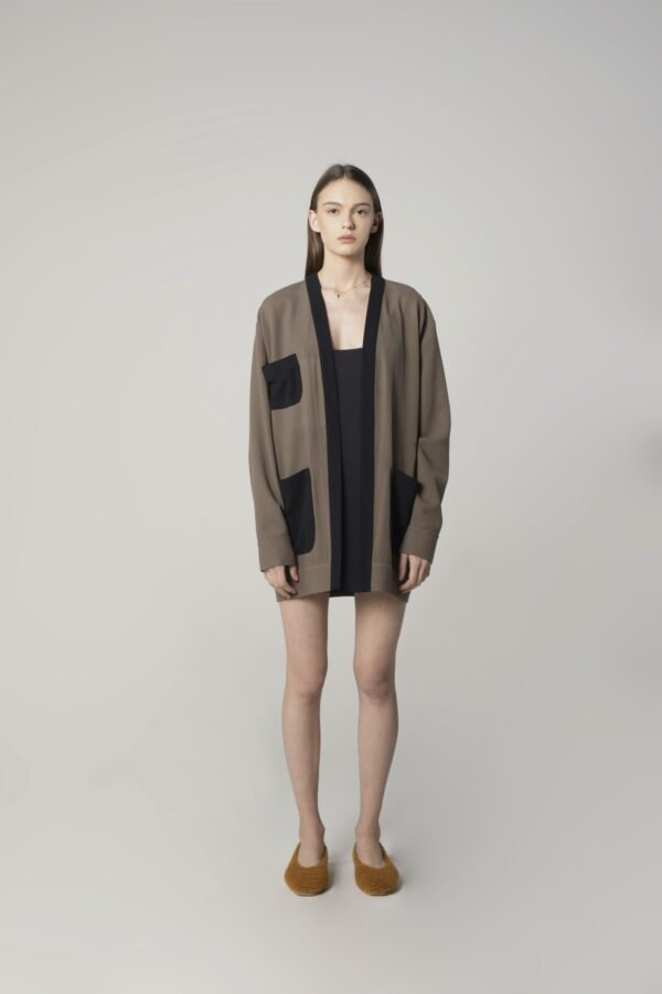 Soft Wool Cardigan in Grey and Navy Blue