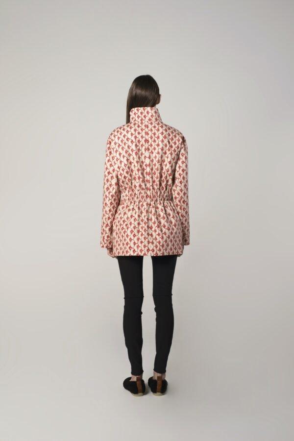 marija tarlac spring jacket in red and beige print 1