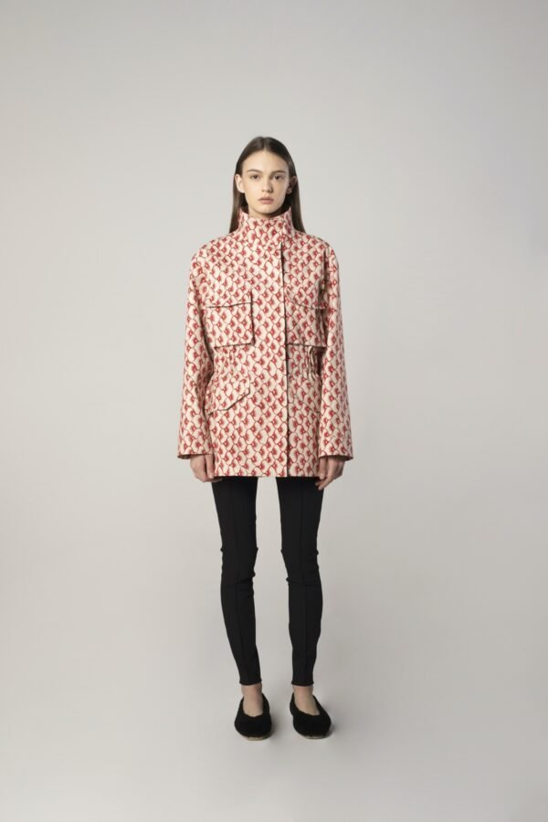Spring Jacket in Red and Beige Print