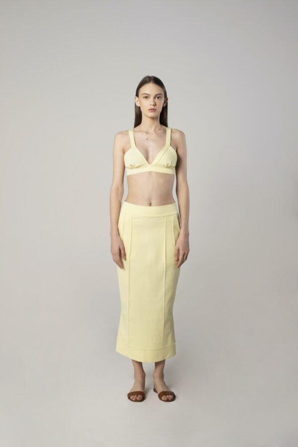 Viscose Skirt in Lemon Yellow